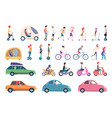 city transport people driving cars scooter bike vector image