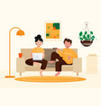couple working from home design vector image vector image