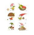 cute funny cartoon garden gnomes funny elves vector image vector image