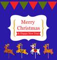 cute reindeer carousel christmas card vector image