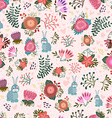 Cute seamless pattern with flowers and hares vector image vector image