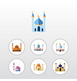 flat icon building set of structure islam mosque vector image vector image