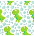 Green Dinosaur Rex seamless pattern vector image vector image