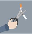 hand scissors cutting a cigarrette vector image vector image