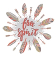 Handwritten quote free spirit with feathers and vector image vector image