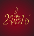 Happy New Year 2016 gold lettersn on a rad vector image vector image