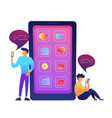 huge smartphone with apps icons and two users vector image