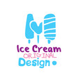 ice cream original logo emblem for restaurant vector image vector image