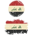 Iraqi round and square grunge flags vector image vector image