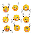 joyful and sad smileys with hands gesture set vector image vector image