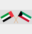 kuwait and united arab emirates flags vector image