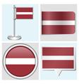 Latvia flag - sticker button label flagstaff vector image vector image