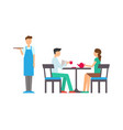 man and woman in cafeteria waiter service vector image vector image