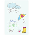 month calendar october 2018 umbrella and boots vector image vector image