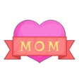 Mothers Day pink heart with red ribbon icon vector image vector image