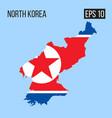 north korea map border with flag eps10 vector image
