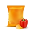 Potato Ripple Chips with Paprika and Foil Bag vector image vector image