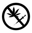 prohibition sign no drugs and marijuana allowed vector image vector image