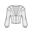 ruffled cropped blouse technical fashion vector image vector image