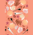 seamless pattern with seashells and starfish vector image