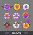 set colorful halloween kawaii funny donuts vector image