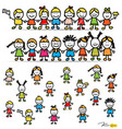 Set of cute happy cartoon kids vector image vector image