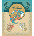 set vitage sea food menu elements vector image