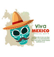 skull with hat and mustache to day of the dead vector image