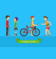summer sport children on the playground vector image vector image