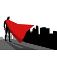 superhero standing on edge high building vector image vector image
