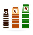 three towers plastic coffee cups in different vector image vector image
