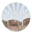 Three wind turbines on rocks vector image vector image