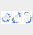 watercolor blue rose flowers cards set collection vector image