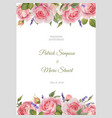 watercolor rose floral invitation card vector image vector image