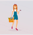 woman holds basket with foods and credit card vector image