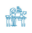 working in the office linear icon concept working vector image vector image