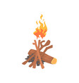 burning bonfire with wood cartoon vector image