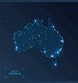 australia map with cities luminous dots - neon vector image