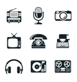 Black and White Vintage Device Icons vector image vector image