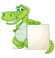 border template design with cute crocodile vector image