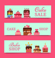 cake banners chocolate and vector image