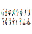 cartoo flat multiracial teens group of vector image vector image
