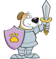 Cartoon dog in a suit of armor vector image vector image