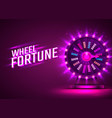 casino neon colorful fortune wheel purple vector image vector image