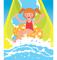 Children girl playing in water park in summer vector image