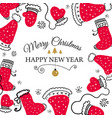 christmas postcard with design elements in doodle vector image
