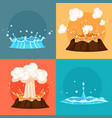 concept of blue geyser and red-hot volcano icons vector image vector image