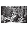 daniel sits safely among the lions in the den vector image vector image