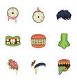 dead body part icons set cartoon style vector image