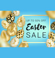easter sale golden eggs design blue vector image